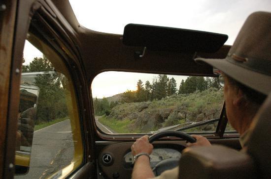 Historic Yellow Bus Tour: View through front of bus