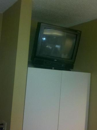 "Super 8 Schenect/Albany Area: 19"" tv in the corner way out of sight"