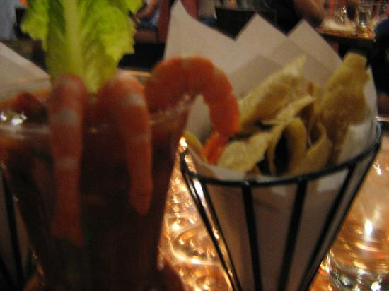 Latin Soul Restaurant: Shrimp ceviche with red, white & blue corn chips