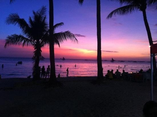 sunset on white beach. postcard perfect!