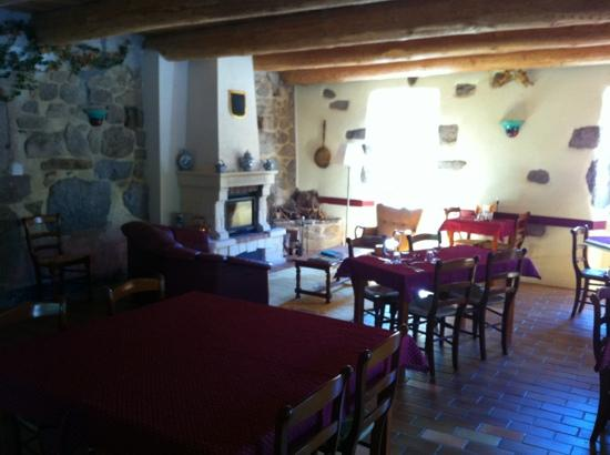 Auberge de Chabanettes: dining room with nice and cosy fireplace!!