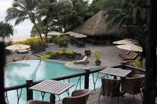 Pacific Resort Aitutaki: View from the restaurant, overlooking the pool and bar.