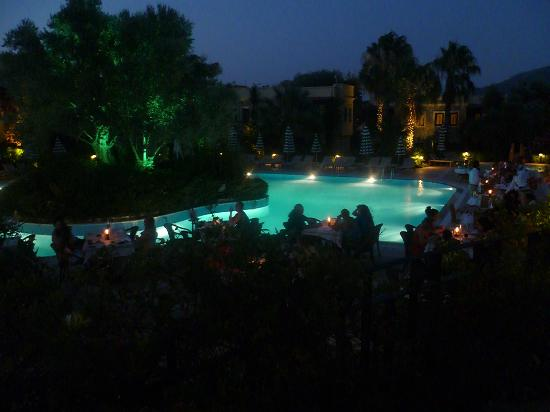 Hotel Zeytinada: View of Pool at Night
