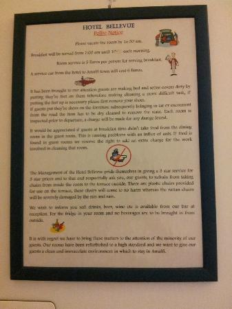 Hotel Bellevue Suites: Rules, rules, rules