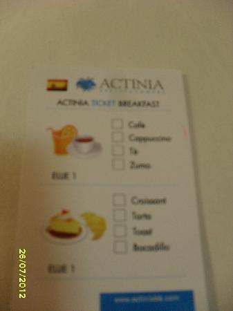 Actinia Accommodation: tarjeta de desayuno