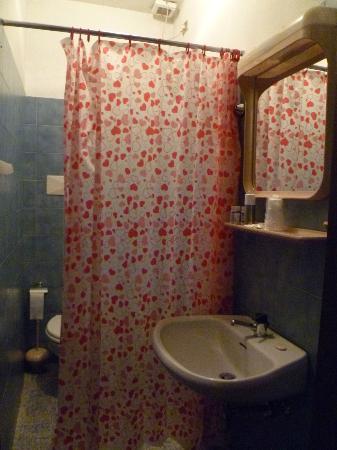 Primavera Hotel: Cortina que separa el lavabo del wc, bidet y ducha