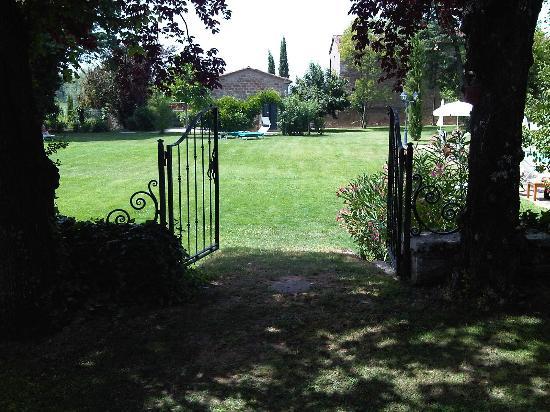 Villa di Piazzano: Pratone adiacente alla piscina