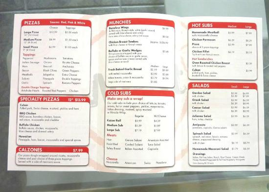 Krony's Pizza: Menu