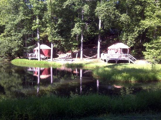 Falling Waters Adventure Resort : Yurt #6 on the left....#1 (??) on the right - across tiny pond