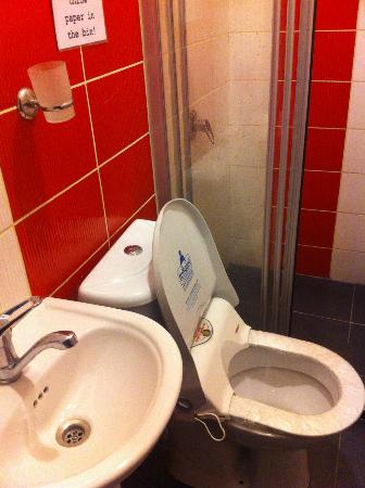 World House Istanbul: bathroom with wrap on seat that was jammed