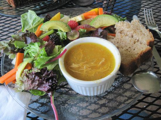 The Green Bean: Spicy chicken soup with avocado salad