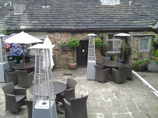 The Black Horse Inn: entrance to our room, the green room across the courtyard