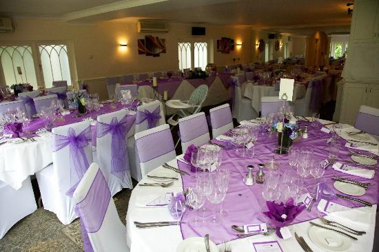 Sheene Mill: the tables laid out ready for the wedding breakfast