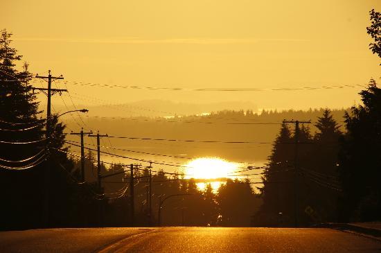 Haida Way Motor Inn: Blick vom Hotel Richtung Hafen bei Sonnenuntergang