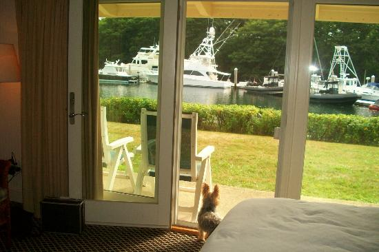 Yachtsman Hotel & Marina Club: patio looking out from our room to grassy area and ships