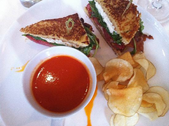 Scampo: Burrata BLT with cup of hot tomato soup