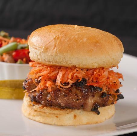 Greta's Gourmet: Spicy Asian Burger with Marinated Veggie Salad