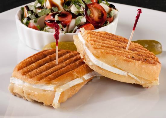 Greta's Gourmet: Grilled Double Cream Brie Sandwich with Caprese Salad