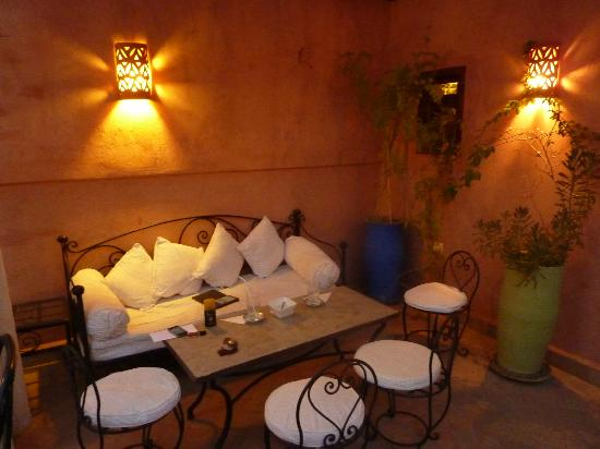 Riad Al Badia: This is the draped patio area directly outside our room