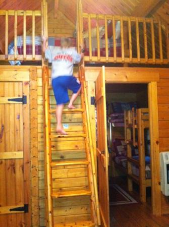 Katie's Cozy Cabins: Cozy loft and bunk beds! Fun for kids, too!