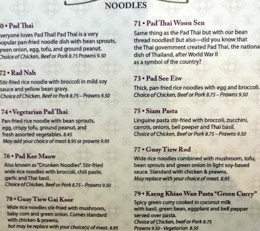 Thai Noodle Cafe Menu