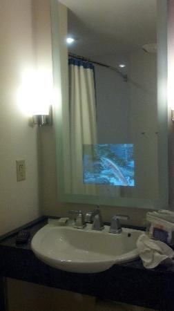 ‪رينيسانس شومبرج كونفينشن سنتر هوتل: TV embedded in Bathroom mirror‬