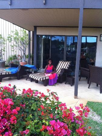 Wailea Elua Village: Our great patio at unit 2009. Better than many.