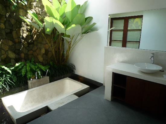 Bayad Ubud Bali Villa: Lækkert badeværelse med vand og fisk rundt om badekaret