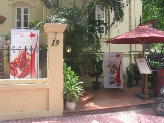 main entrance to french villa type restaurant Nam Phuong