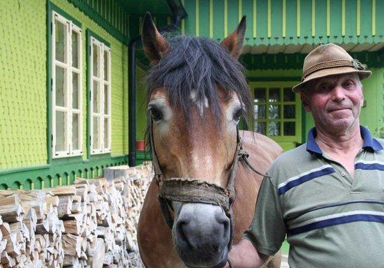 Sucevita, Ρουμανία: Mos Vasile et notre cheval
