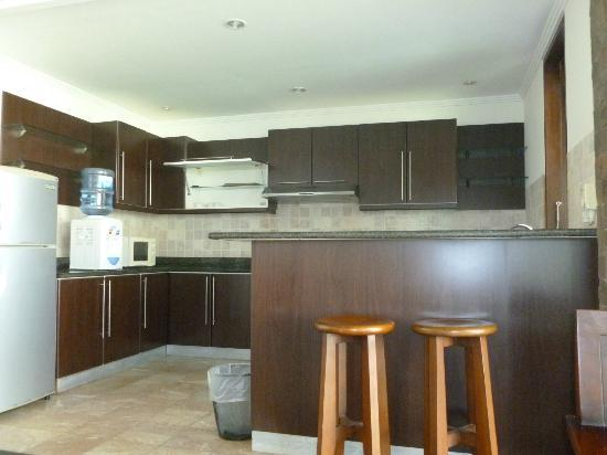 Dampati Villas: Kitchen area complete with fridge,microwave, oven and water dispenser