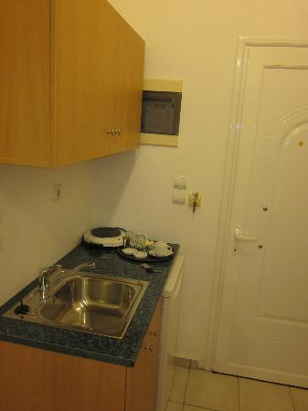 Mon Repos Villa - Hotel: The kitchen area equipped with fridge, pans, tops, glasses and plates.