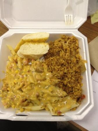 Gumbo Ya Ya: Maque Choux on rice with traditional Jambalaya.