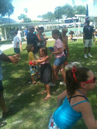 Sun N Fun RV Resort: Water Balloon Toss at July 4th Celebration