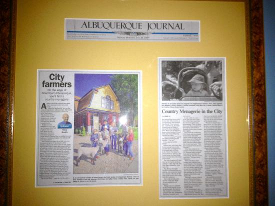 Downtown Historic Bed & Breakfasts of Albuquerque: Articles on wall