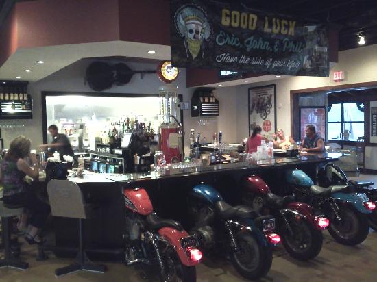 View Of The Bar With Motorcycles For Stools Picture Of