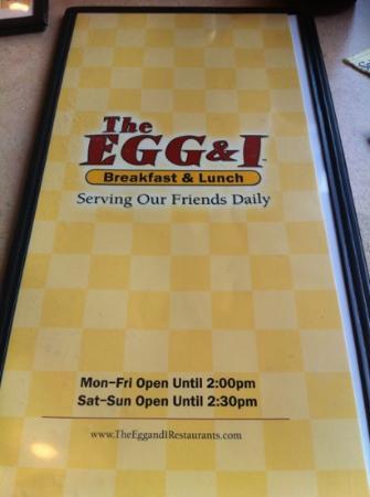 The Egg and I : menu