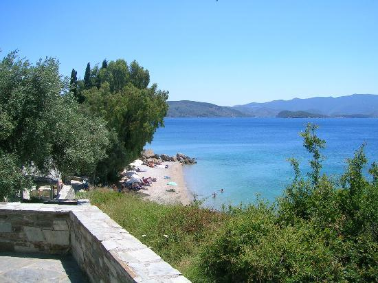 Хорто, Греция: Beach, viewed from the middle of the hill