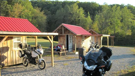 Hunt's Lodge: We currently have 5 cabins. Each cabin has covered bike parking.