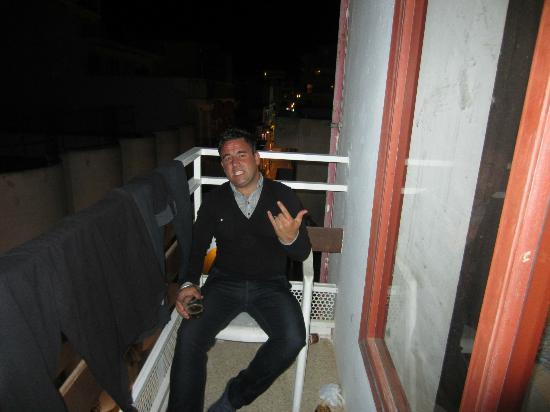 Viva Hotel: Jagermeister on balcony before night out!
