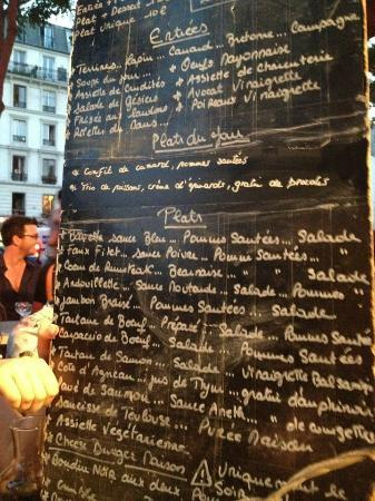 La cantine de Belleville: The menu board