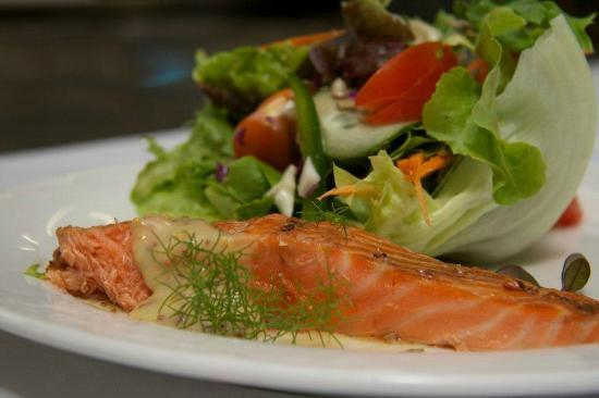 Petite Fleur at Seifried Estate: Signature Hot Smoked Salmon Salad Dish