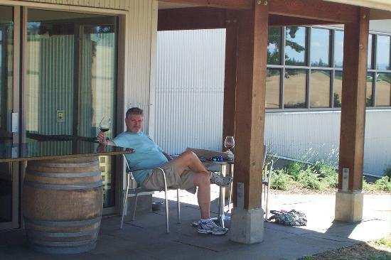 Stoller Vineyards: Enjoying a glass of Stoller pinot on the tasting room patio