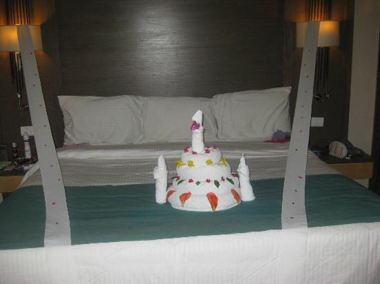 towel art birthday cake by Reda Picture of Coral Sea Aqua Club