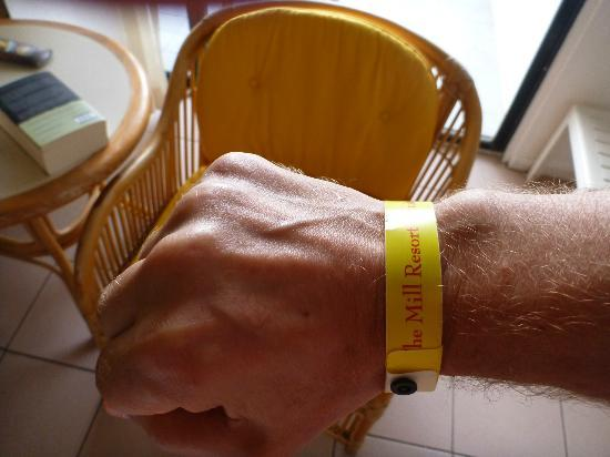 The Mill Resort & Suites Aruba: They make you go with wristband. Not to my liking