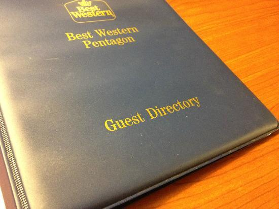 BEST WESTERN Pentagon Hotel - Reagan Airport: Even the Guest Directory was dirty!