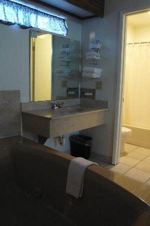 Jamestown Railtown Motel: Jacuzzi/vanity area