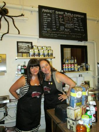Market Ghost Tours: Celeste & Mercedes posing for a pic. Merecedes was so sweet she autographed her book I bought!