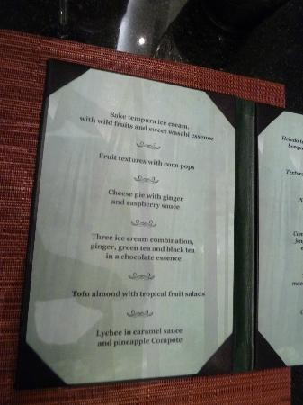 Now Amber Puerto Vallarta: Asian restaurant dessert menu