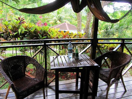 Hibiscus Valley Inn: Our room's terrace with hammock and a beautiful view